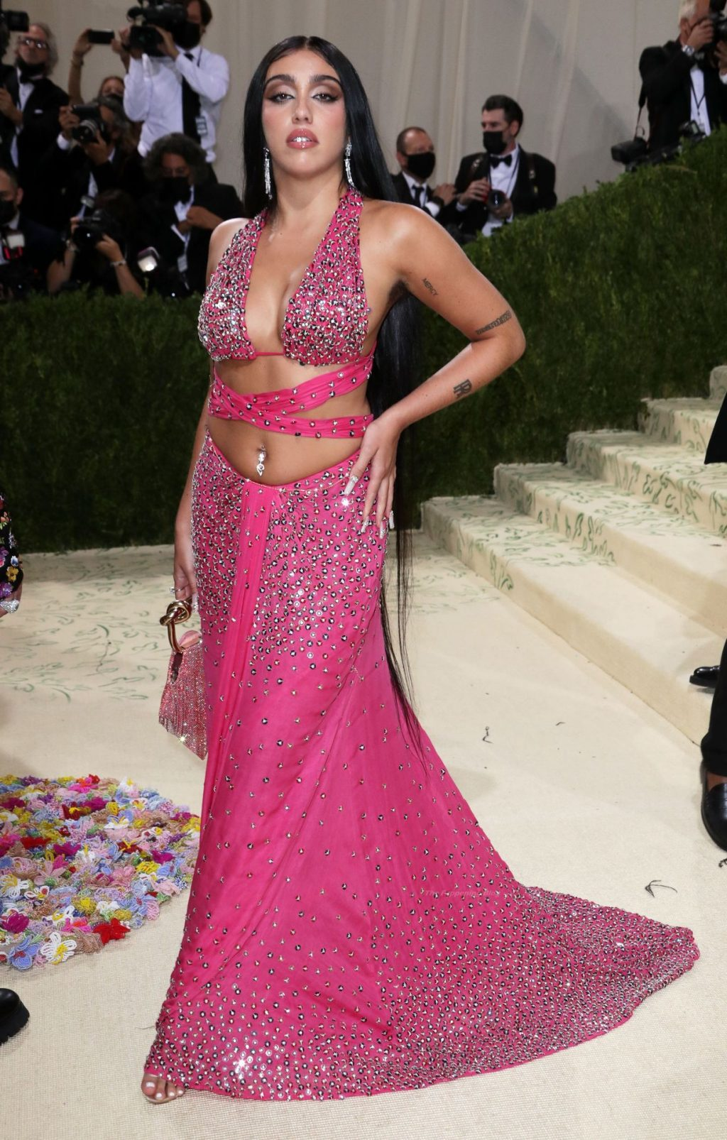 Lourdes Leon Proudly Shows Off Her Armpit Hair and Abs in a Pink Studded Dress at the 2021 Met Gala (70 Photos)