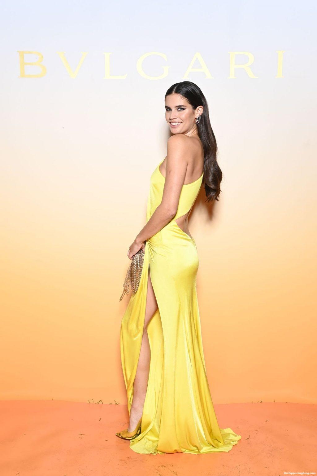 Sara Sampaio Poses in a Glamorous Lemon A-symmetrical Gown at the Bulgari Event (14 Photos)