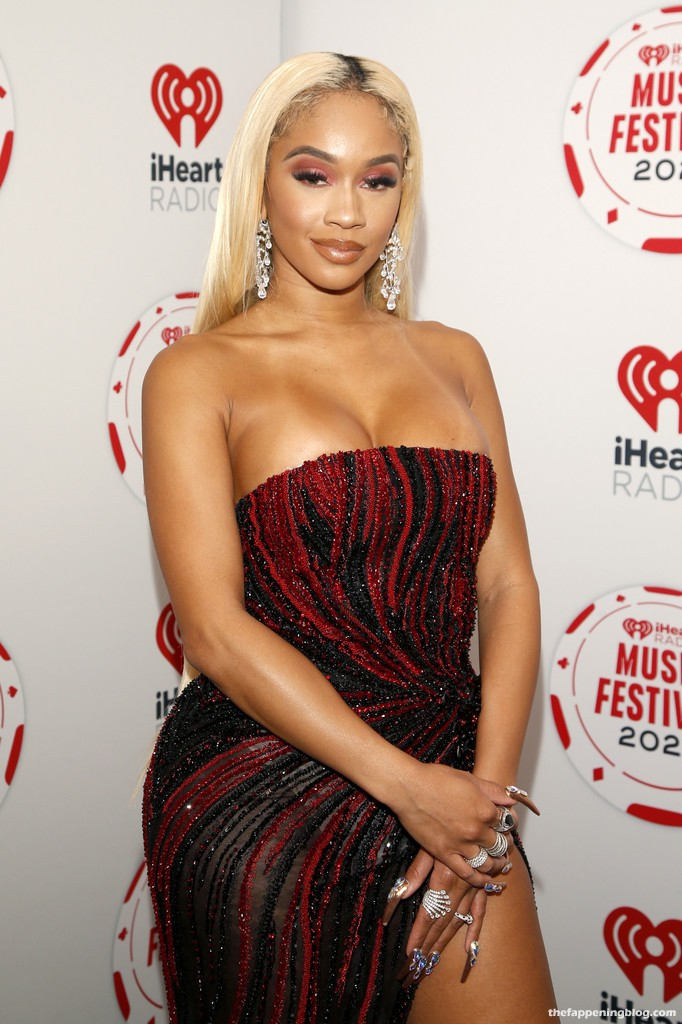 Saweetie Flaunts Her Boobs at the 2021 iHeartRadio Music Festival (32 Photos) [Updated]