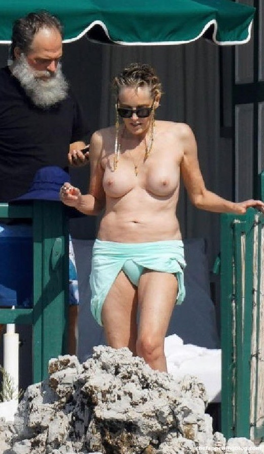 Sharon Stone Shows Her Nude Tits in France (4 Photos)