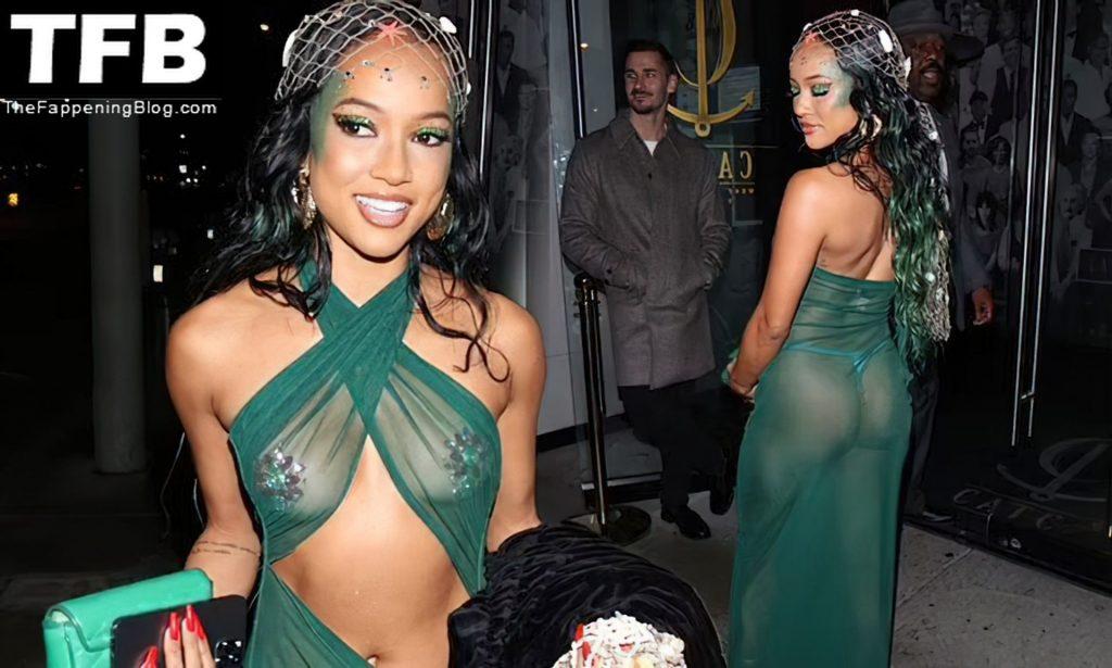 Karrueche Tran Goes Braless Under a Sheer Green Dress as she attends Doja Cat's Birthday Party (64 Photos)