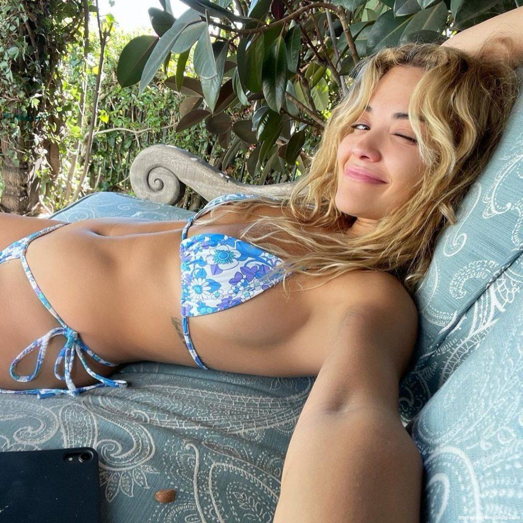 Rita Ora Poses in a Blue Floral Bikini (6 Photos)